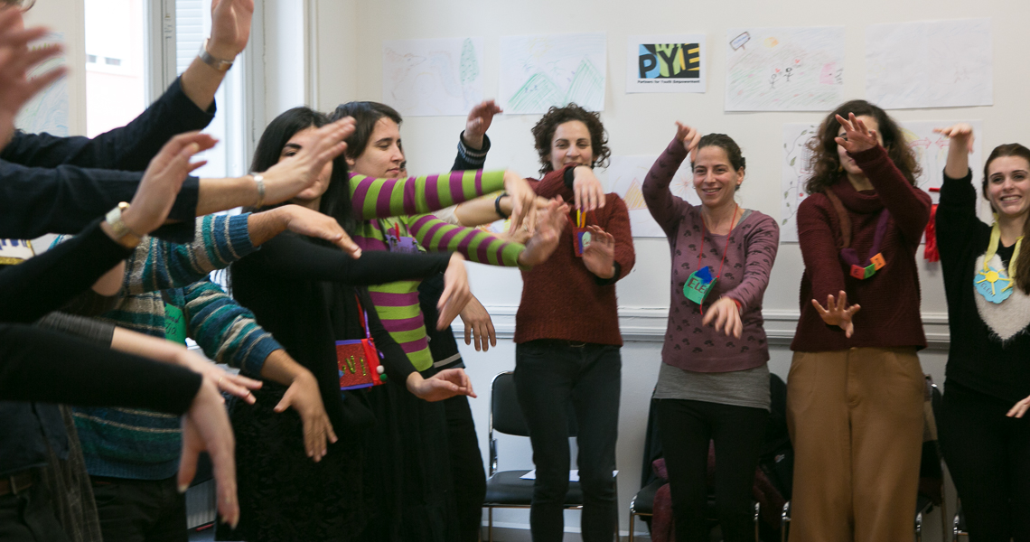 PYE Creative Facilitation training for refugee school educators co-led by Themis Gkion, Flow Athens
